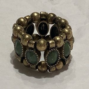 Green Stone Beaded Adjustable Stretchy Ring Boho